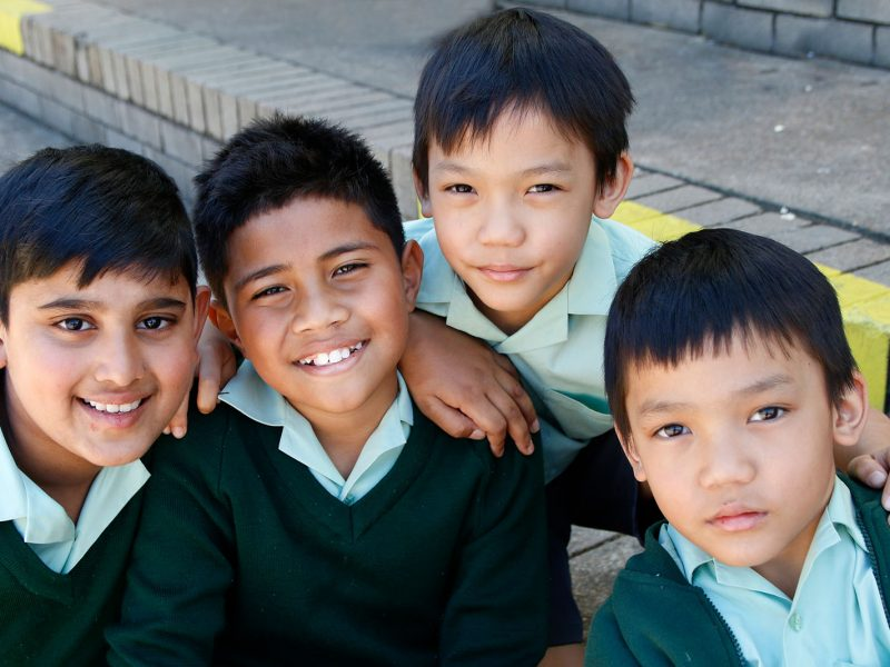 A group of students smiling